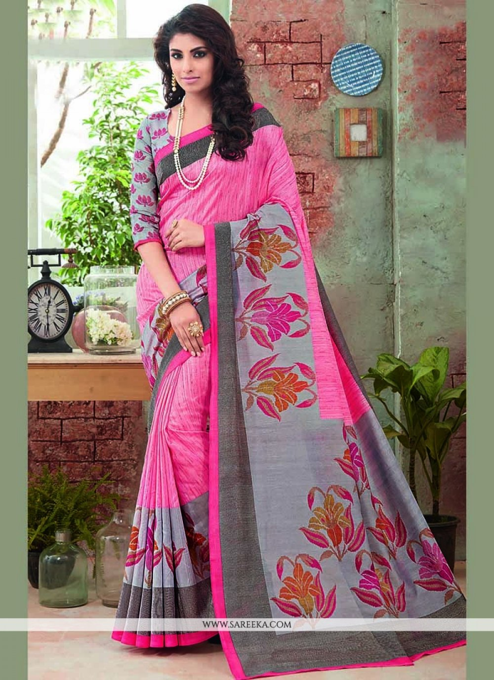 Art Silk Pink Printed Saree