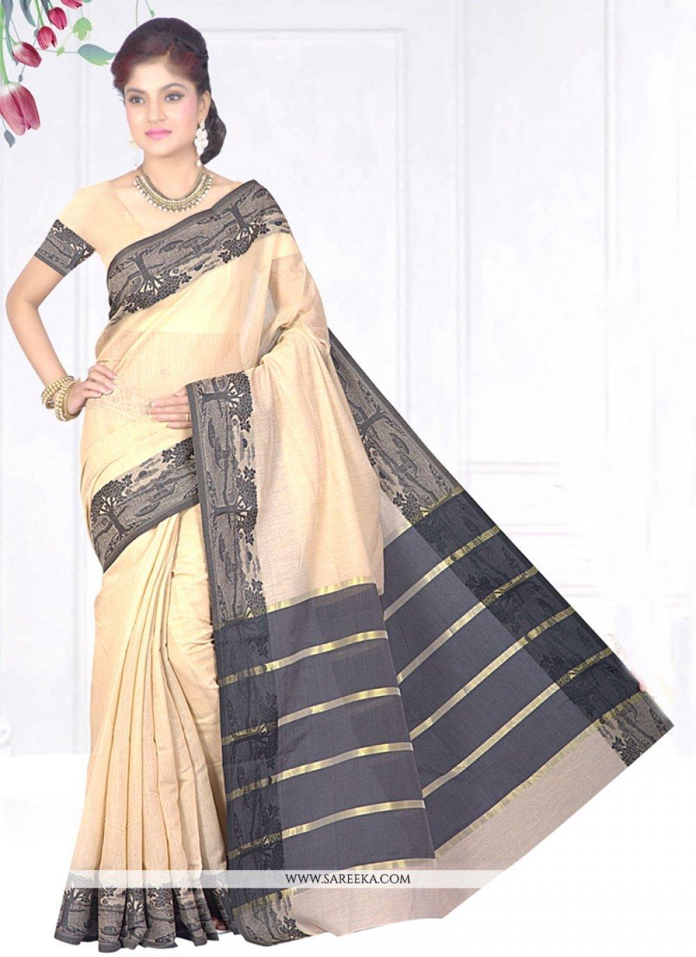 Cotton Silk Beige Patch Border Work Casual Saree