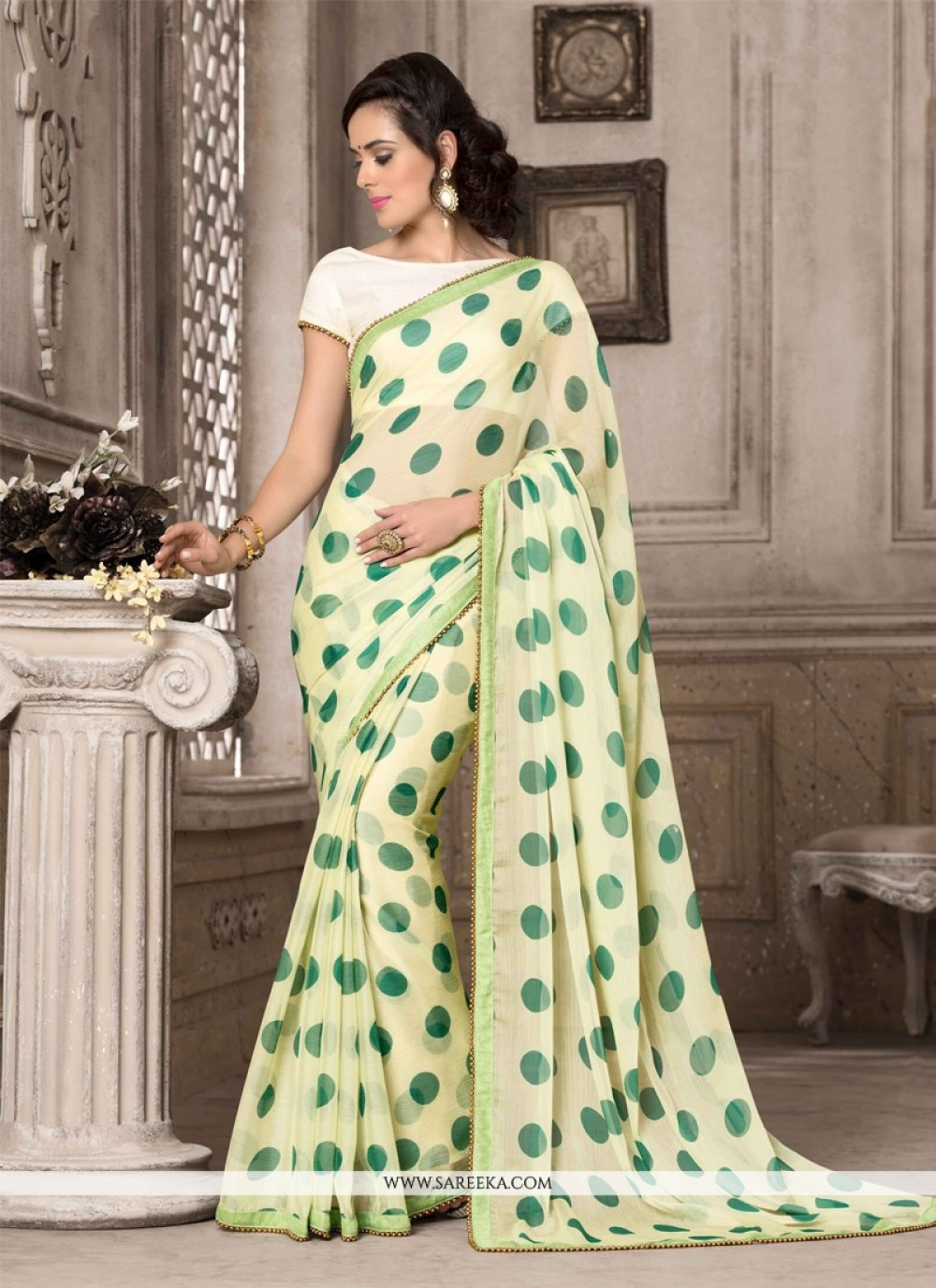 Georgette Green Printed Saree