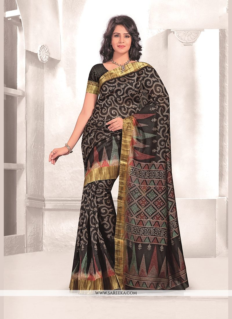 Mysore Udyog Black Print Work Casual Saree