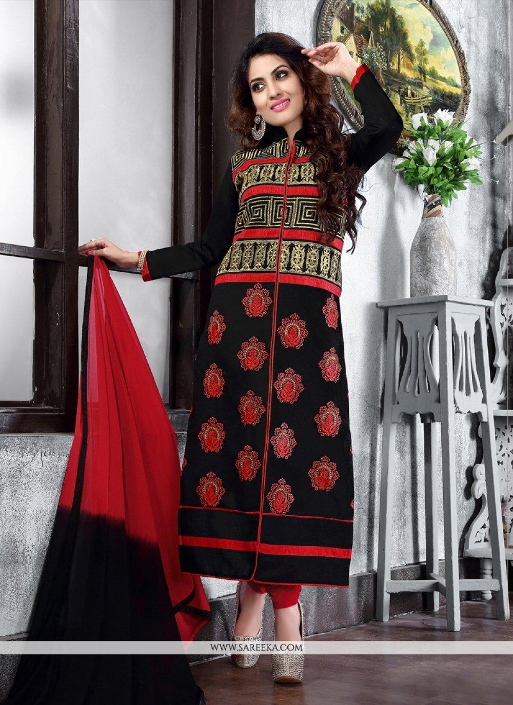Cotton   Lace Work Churidar Suit