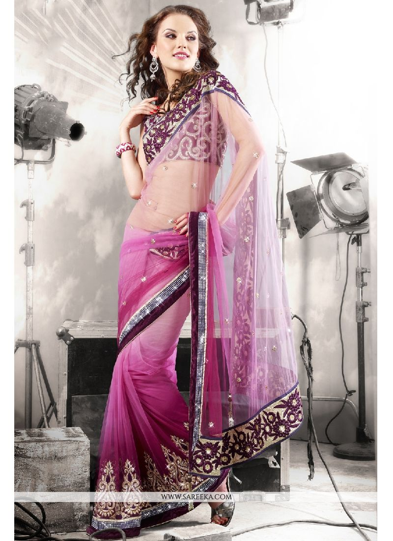 Embroidered Work Net Designer Saree