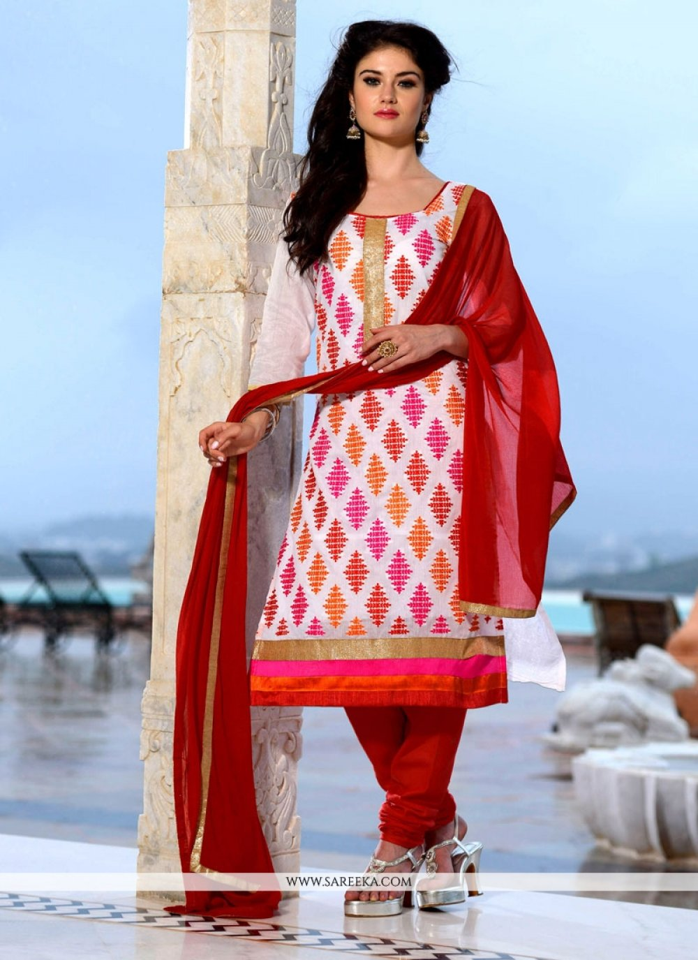Embroidered Work Off White and Red Chanderi Cotton Churidar Designer Suit