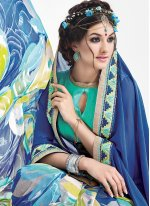 Weight Less Blue Print Work Casual Saree