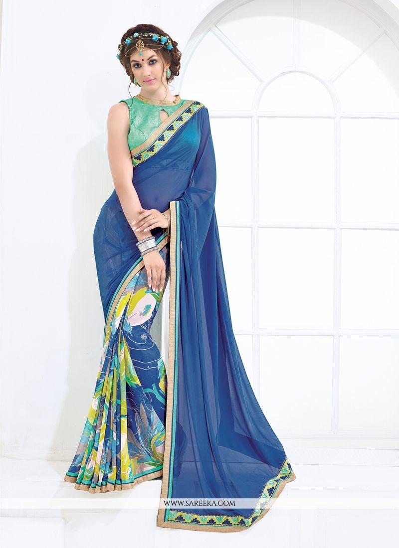 Weight Less Blue Print Work Casual Saree