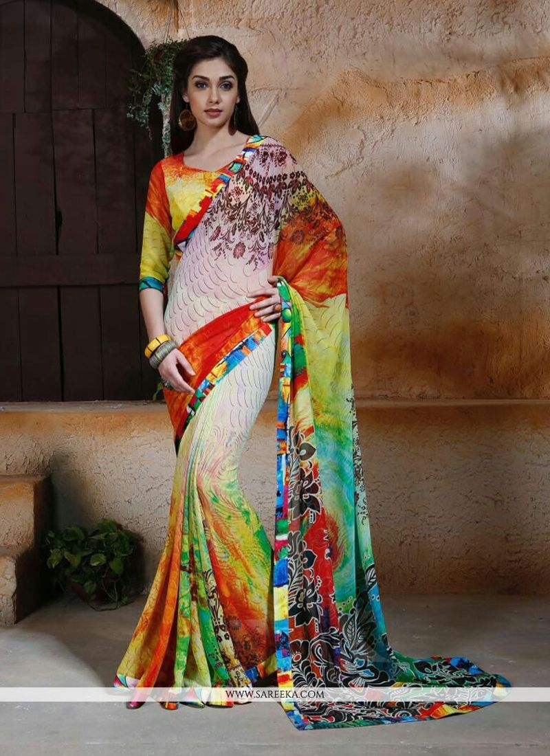 Digital Print Work Multi Colour Georgette Designer Saree
