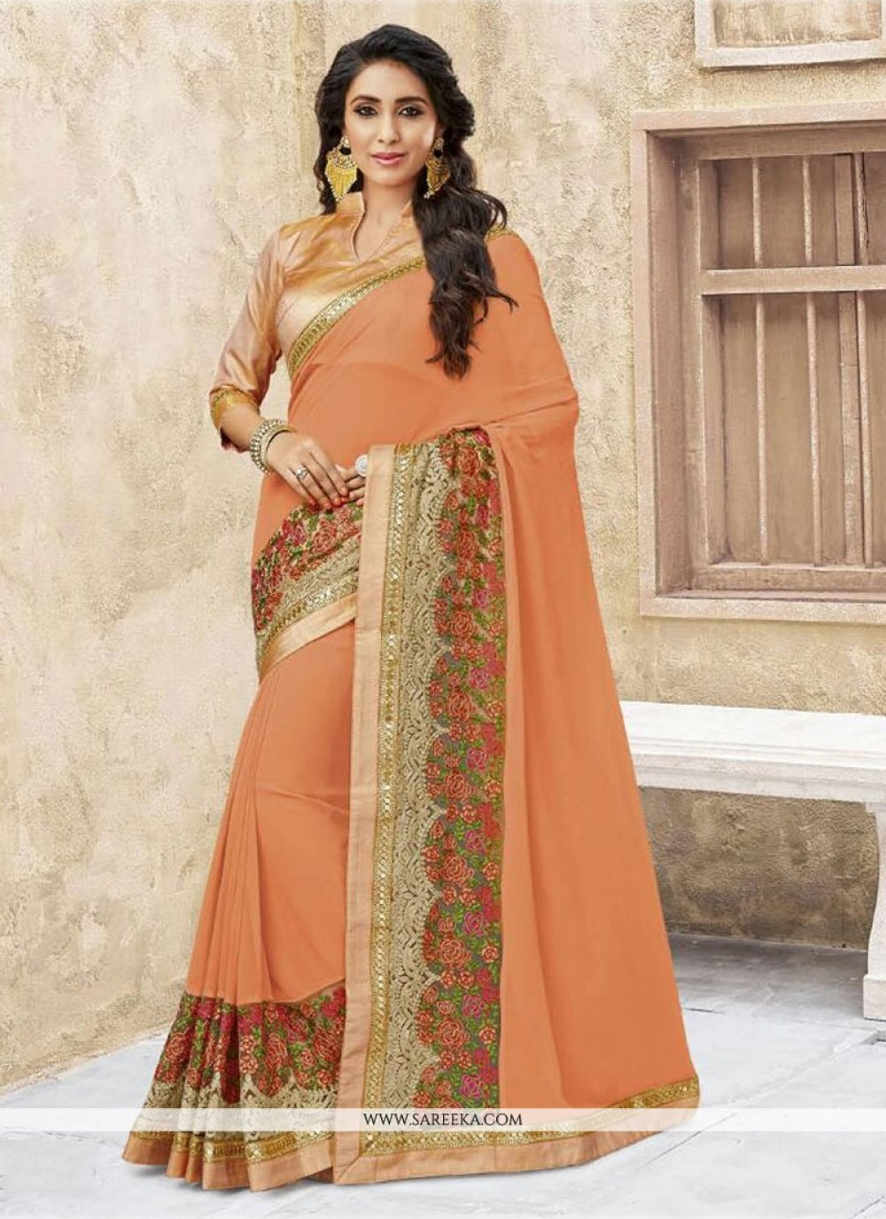 Georgette Orange Designer Traditional Sarees