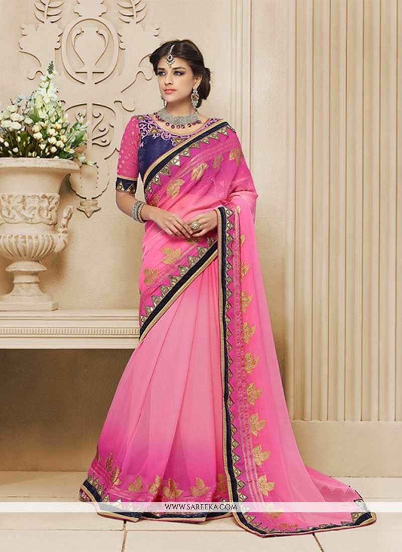 Pink Patch Border Work Georgette Classic Designer Saree
