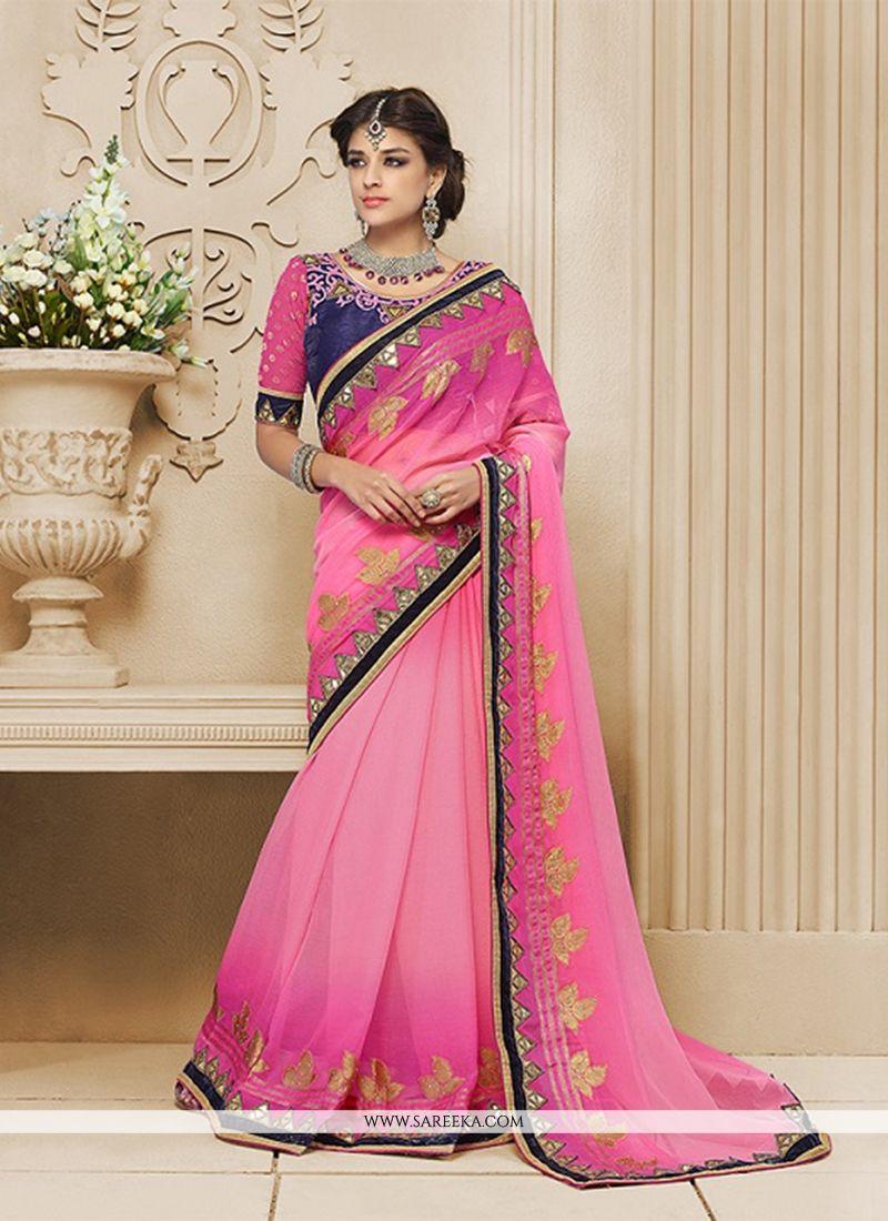 Pink Patch Border Work Georgette Classic Designer Saree
