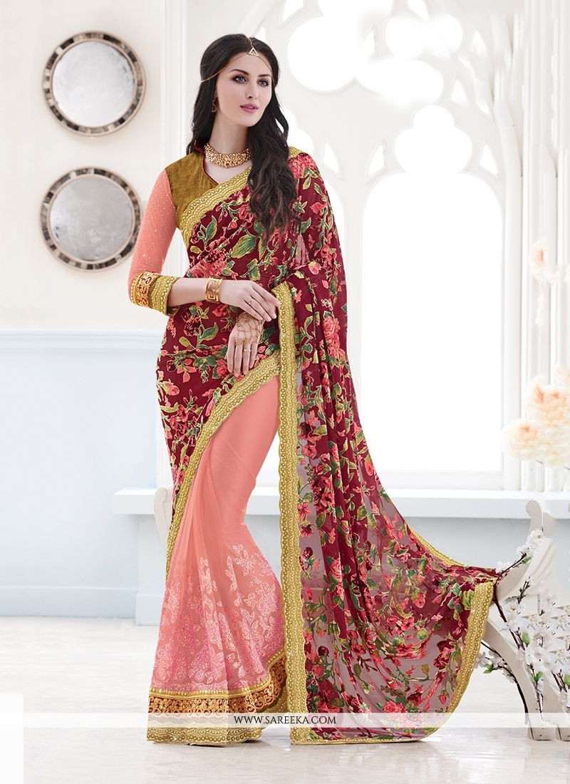 Velvet Pink Patch Border Work Classic Designer Saree