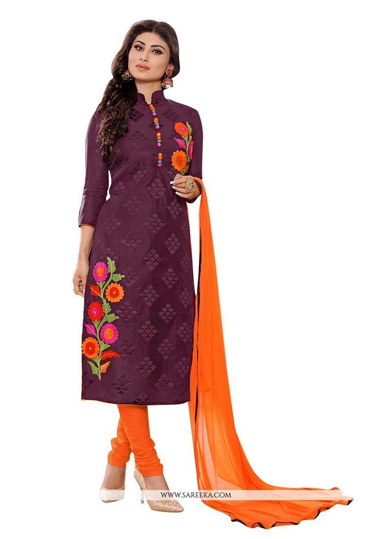 Embroidered Work Purple Churidar Designer Suit