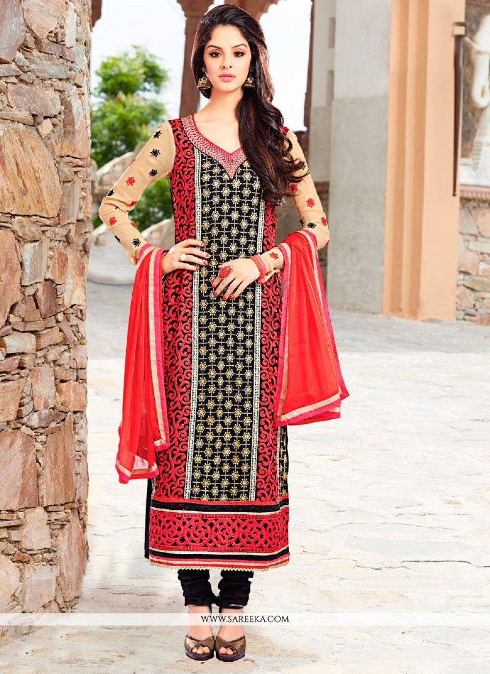 Georgette Resham Work Churidar Designer Suit