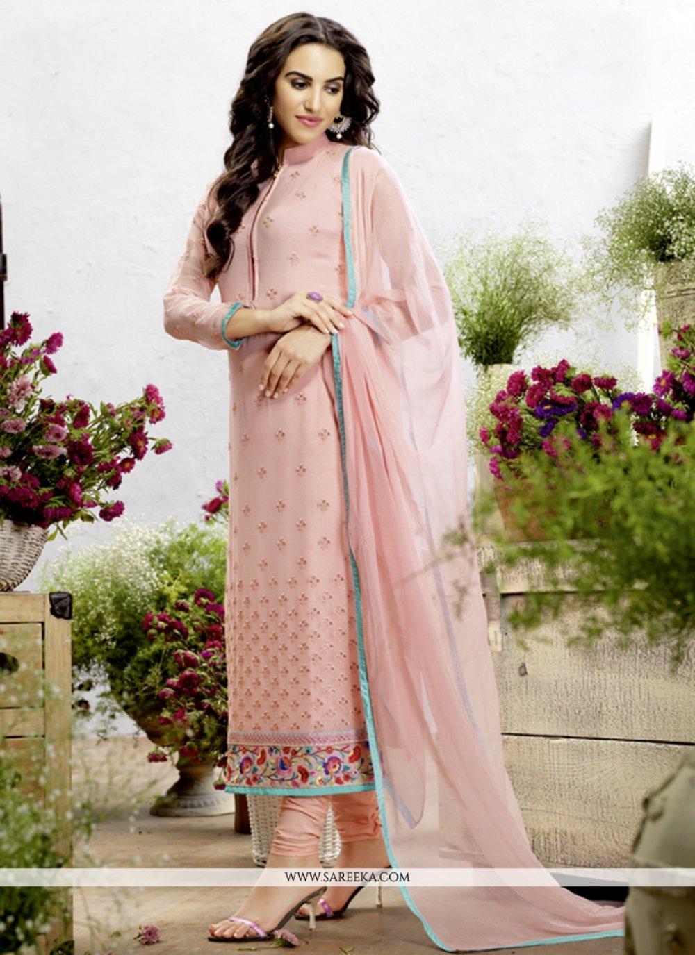 Embroidered Work Pink Georgette Designer Straight Salwar Kameez