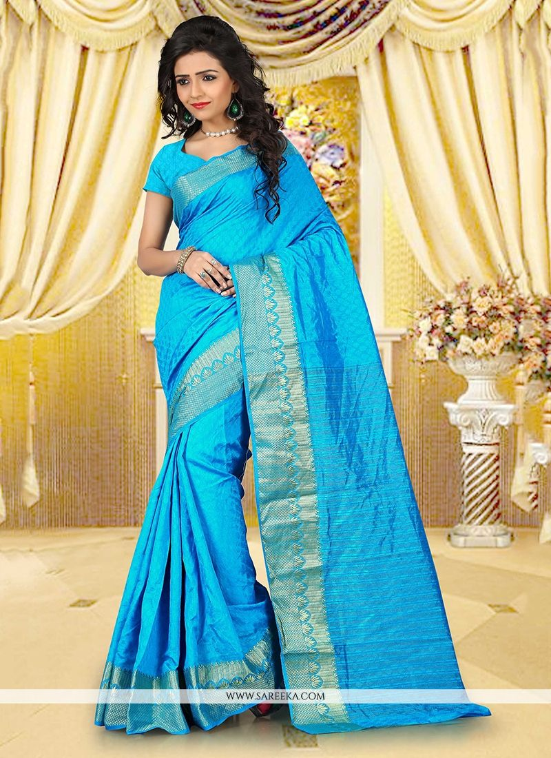 Patch Border Work Turquoise Casual Saree