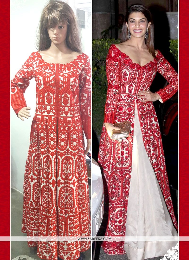 58a7ab6d1b Buy Resham Work Red Bhagalpuri Silk Anarkali Salwar Suit Online : Singapore  -