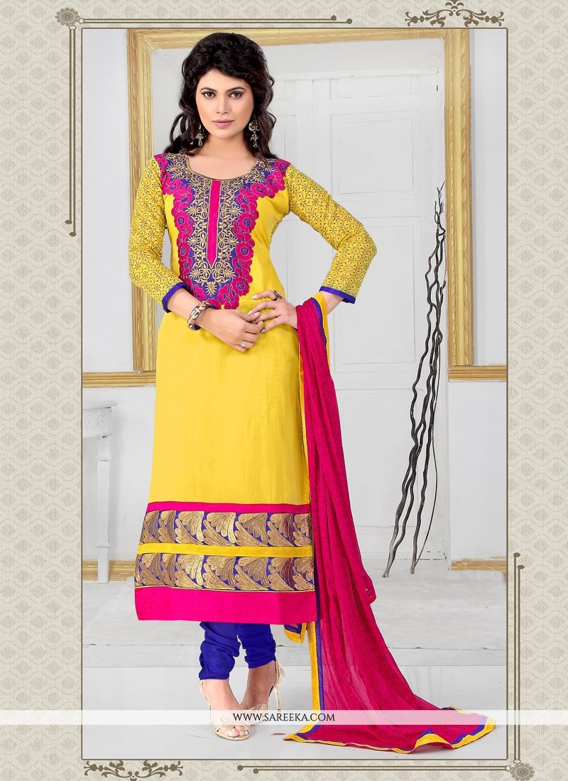 60a5c01b2f24 Buy Yellow Churidar Designer Suit Online : USA, UK -