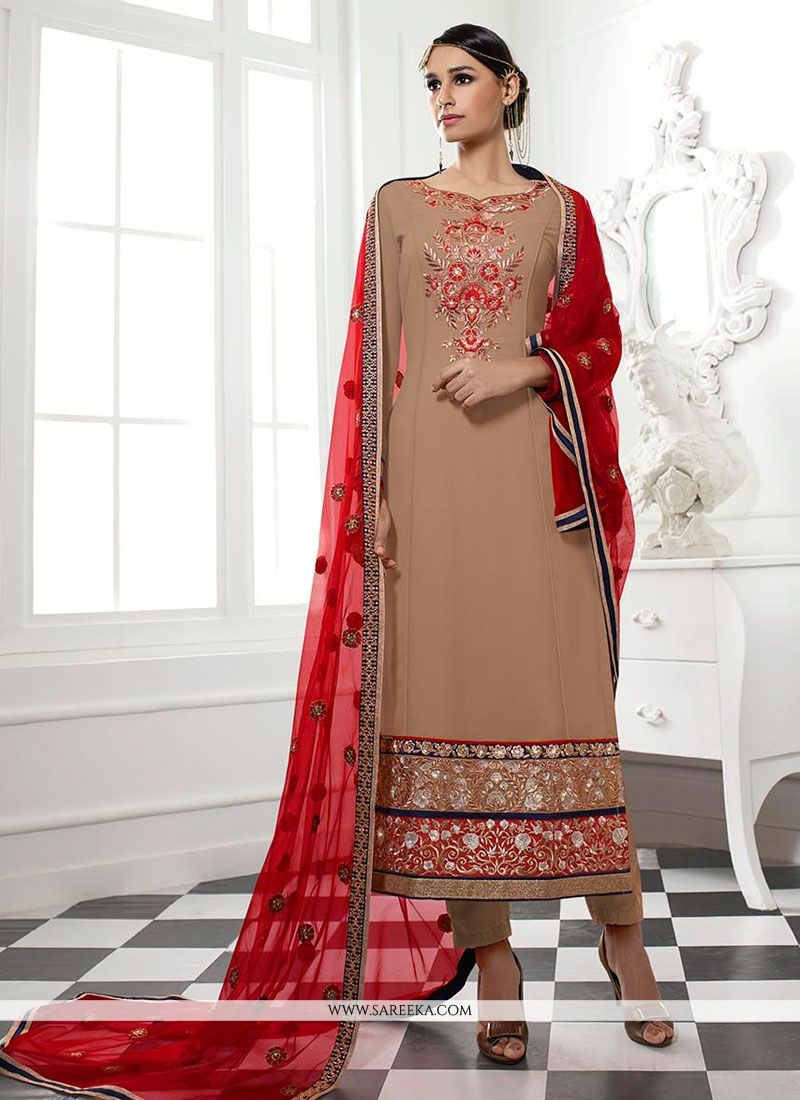 Embroidered Work Georgette Designer Straight Salwar Kameez