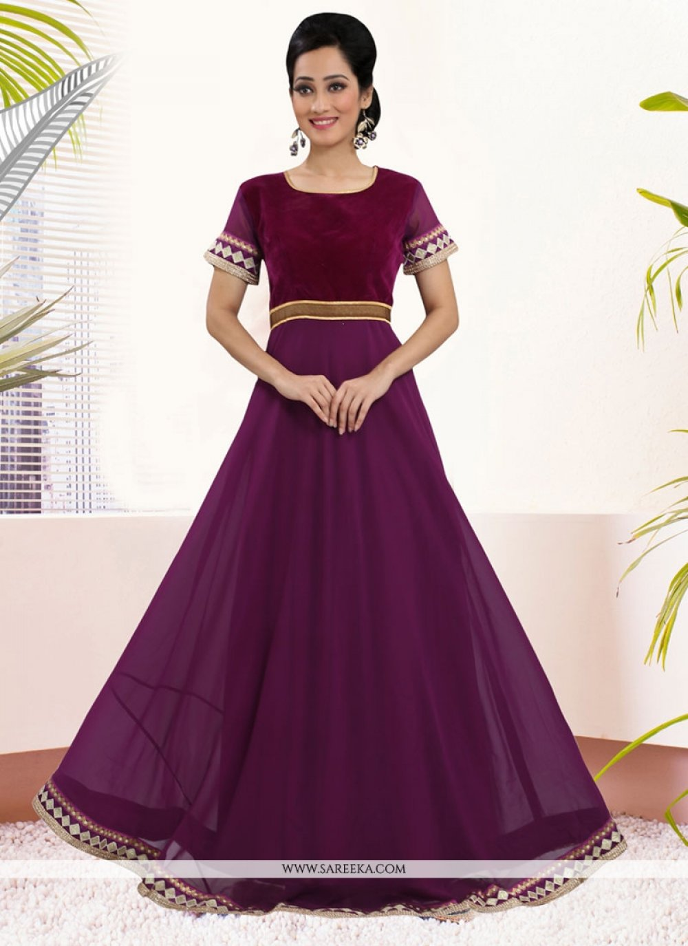 Georgette Purple Embroidered Work Gown