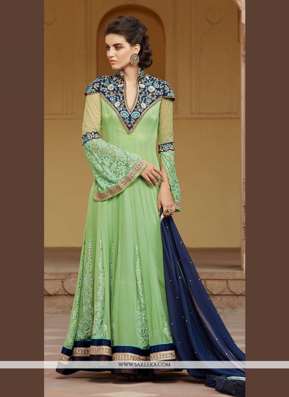 Green Patch Border Work Net Anarkali Salwar Kameez