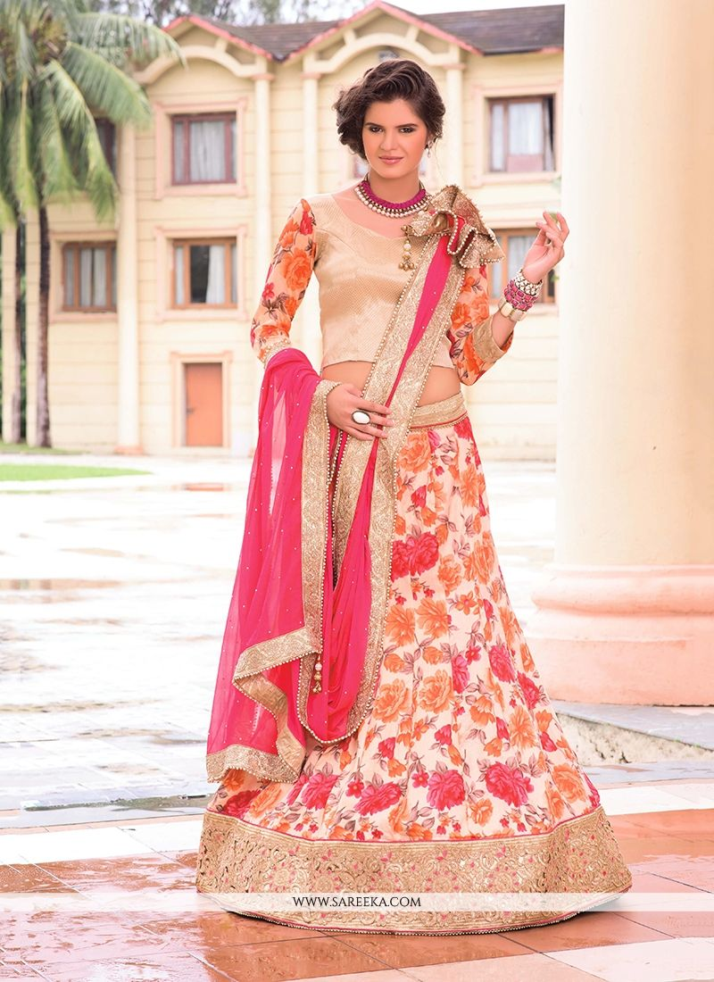 Multi Colour Bhagalpuri Silk A Line Lehenga Choli