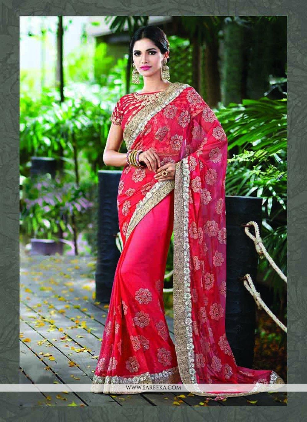 Net Rose Pink Patch Border Work Classic Designer Saree