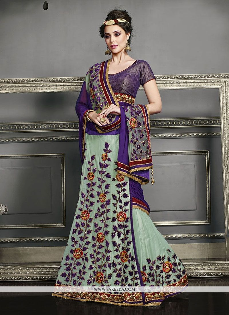 Patch Border Work Net Lehenga Saree
