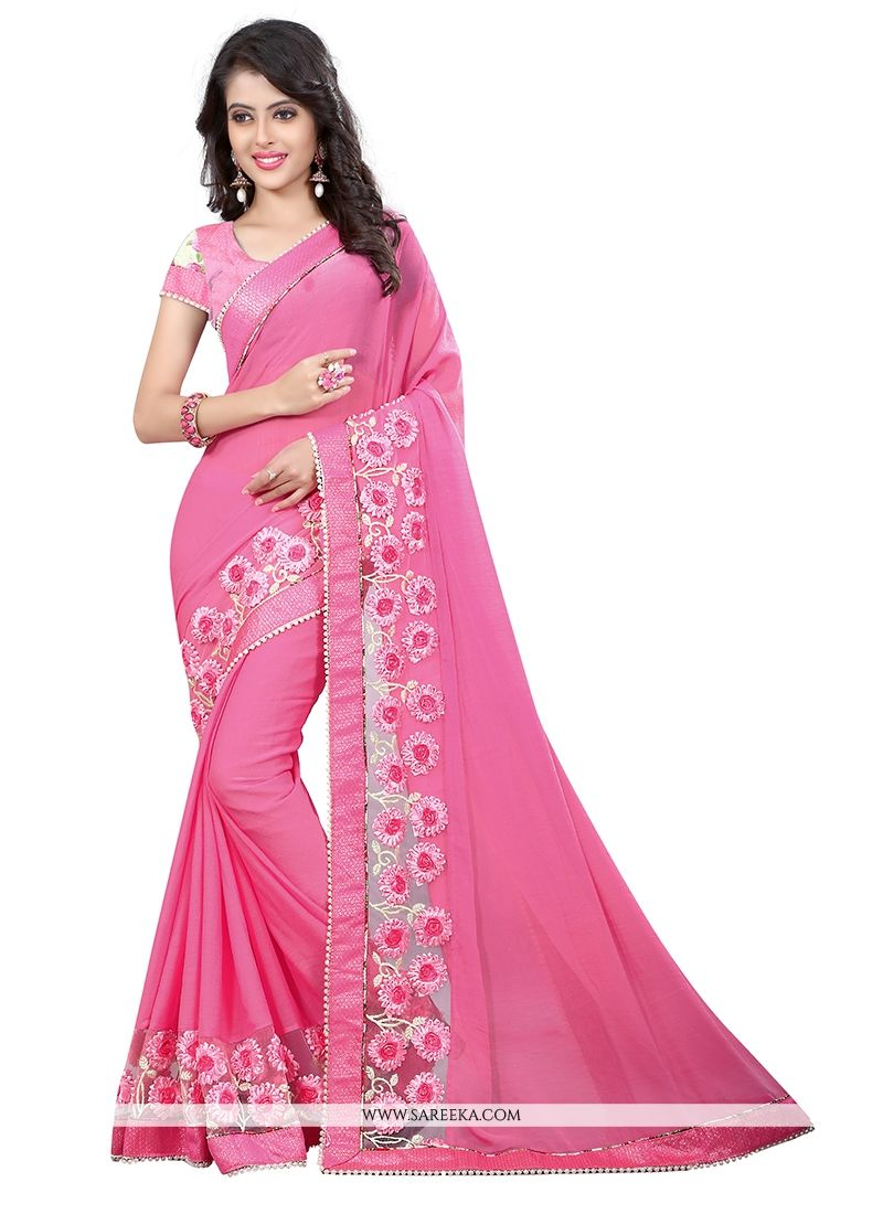 Patch Border Work Pink Designer Saree