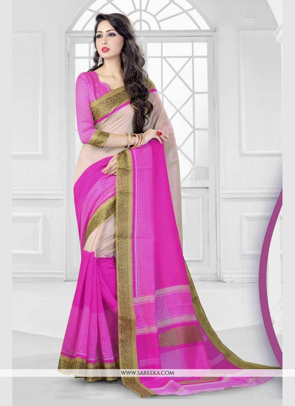 Silk Hot Pink Patch Border Work Classic Saree
