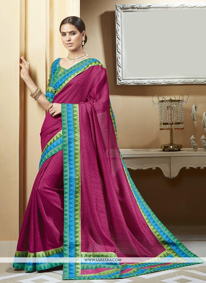 Silk Magenta Printed Saree