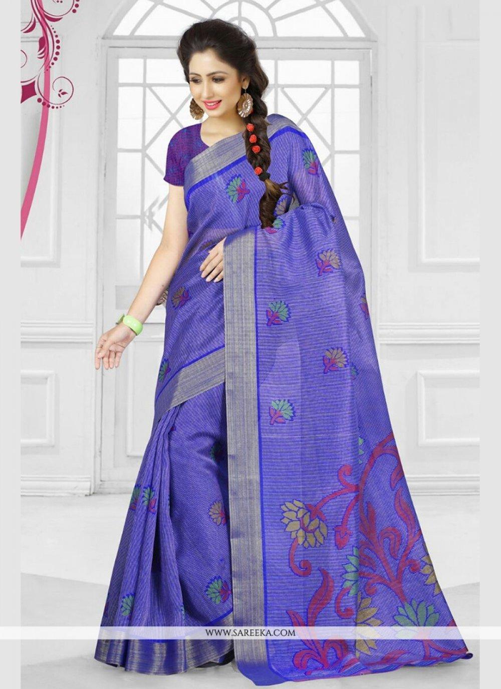 Silk Purple Printed Saree