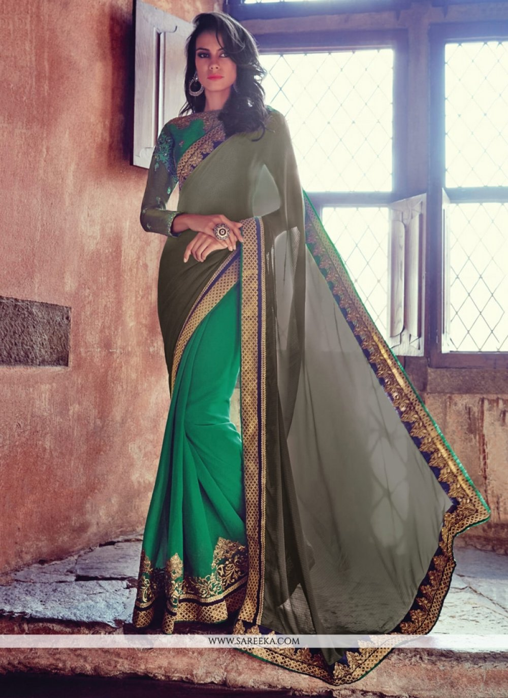 Embroidered Work Designer Half N Half saree