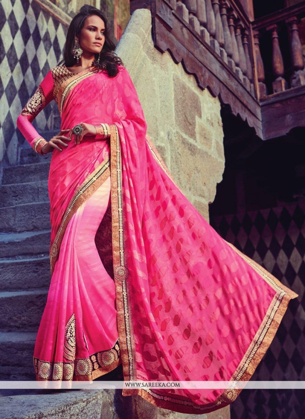 Chiffon Satin Hot Pink Designer Half N Half saree