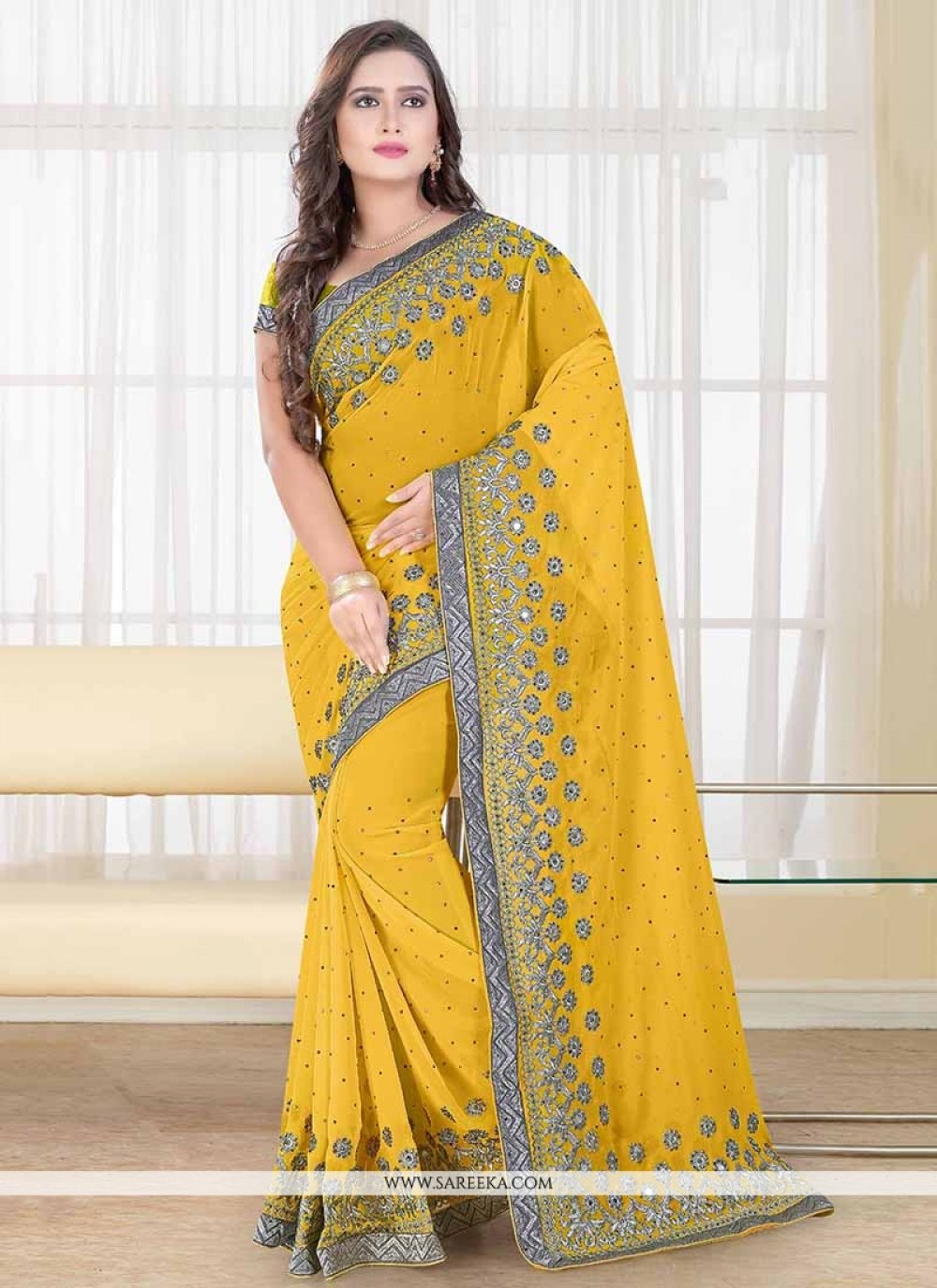 Yellow Embroidered Work Designer Traditional Sarees