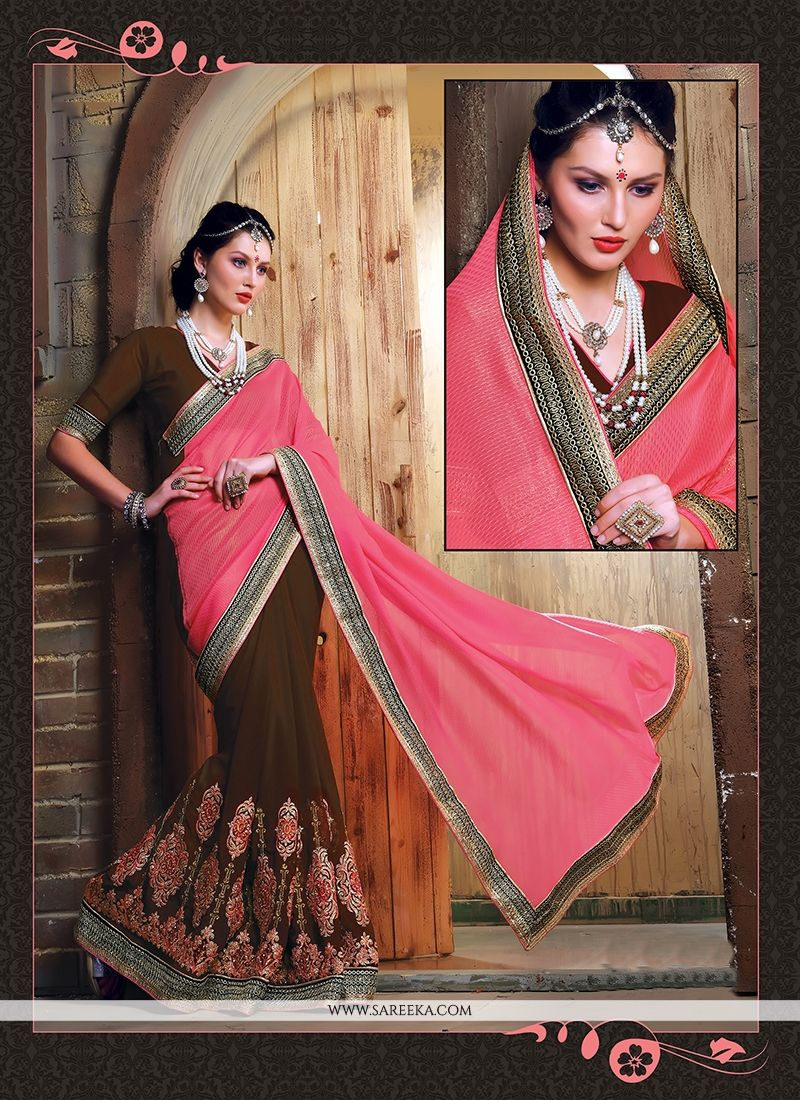 Brasso Georgette Brown and Pink Designer Saree