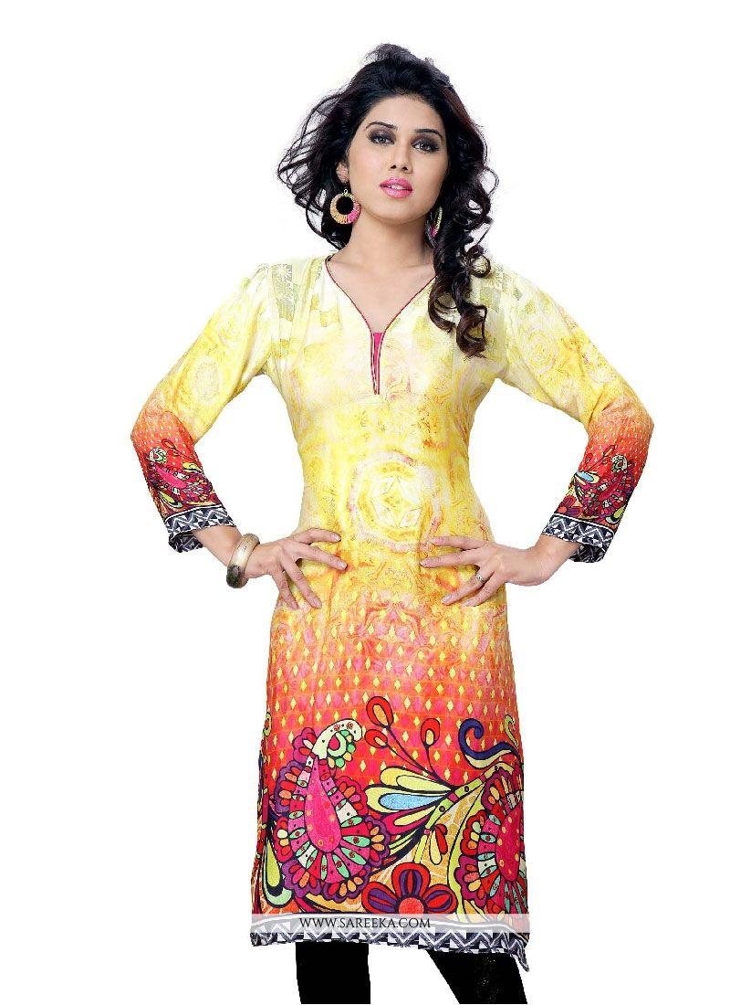 Faux Crepe Multi Colour Print Work Party Wear Kurti
