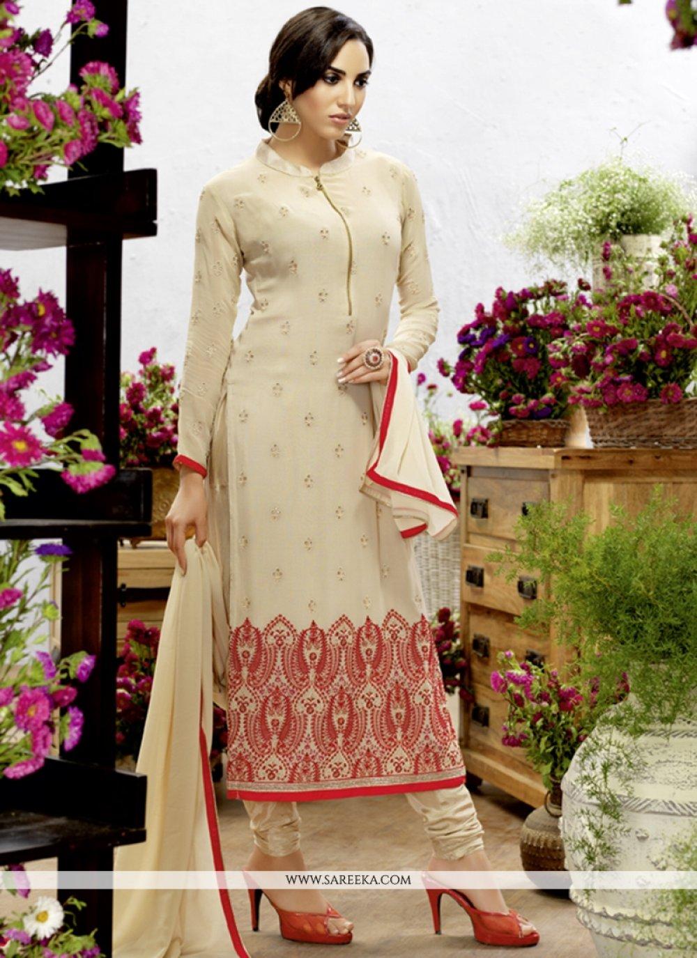 Georgette Cream Resham Work Churidar Designer Suit