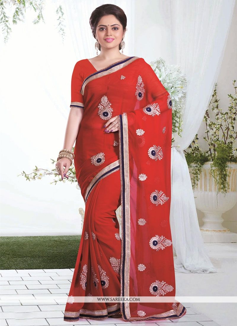 Georgette Maroon Patch Border Work Designer Saree