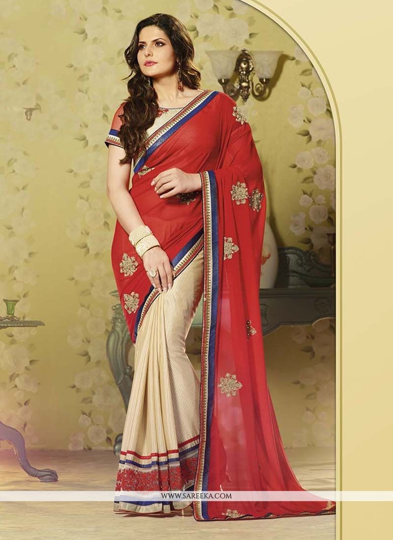 Georgette Red Designer Saree