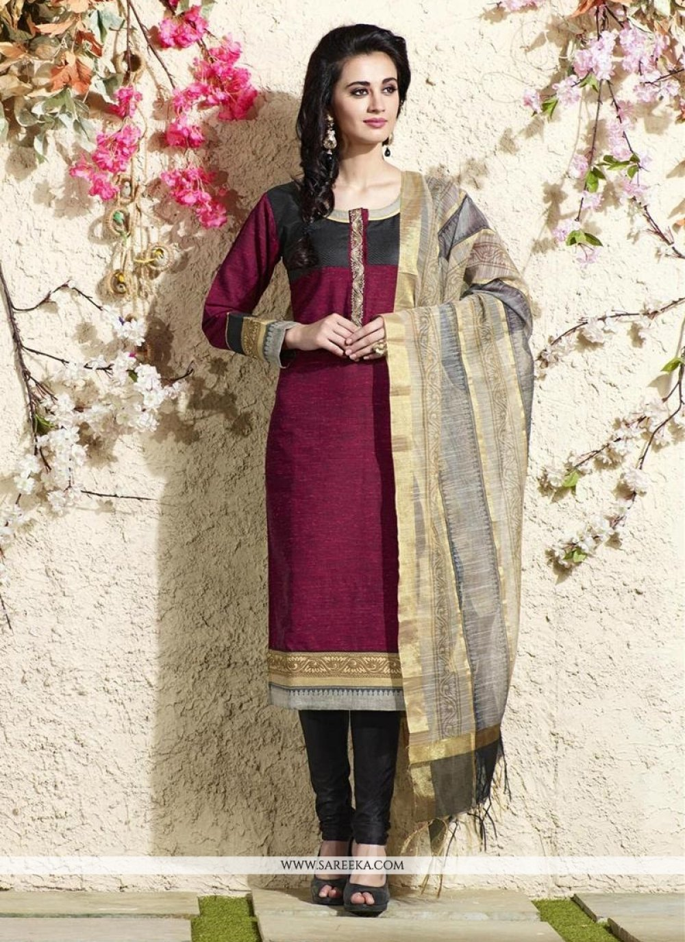 Lace Work Magenta Chanderi Cotton Readymade Suit