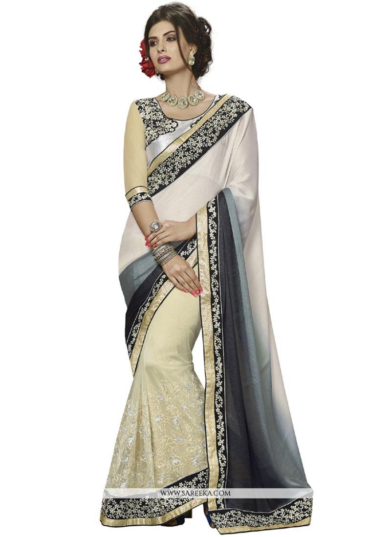 Patch Border Work Off White Designer Saree