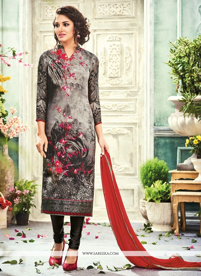 Buy Crepe Silk Print Work Churidar Designer Suit Online : UAE ...