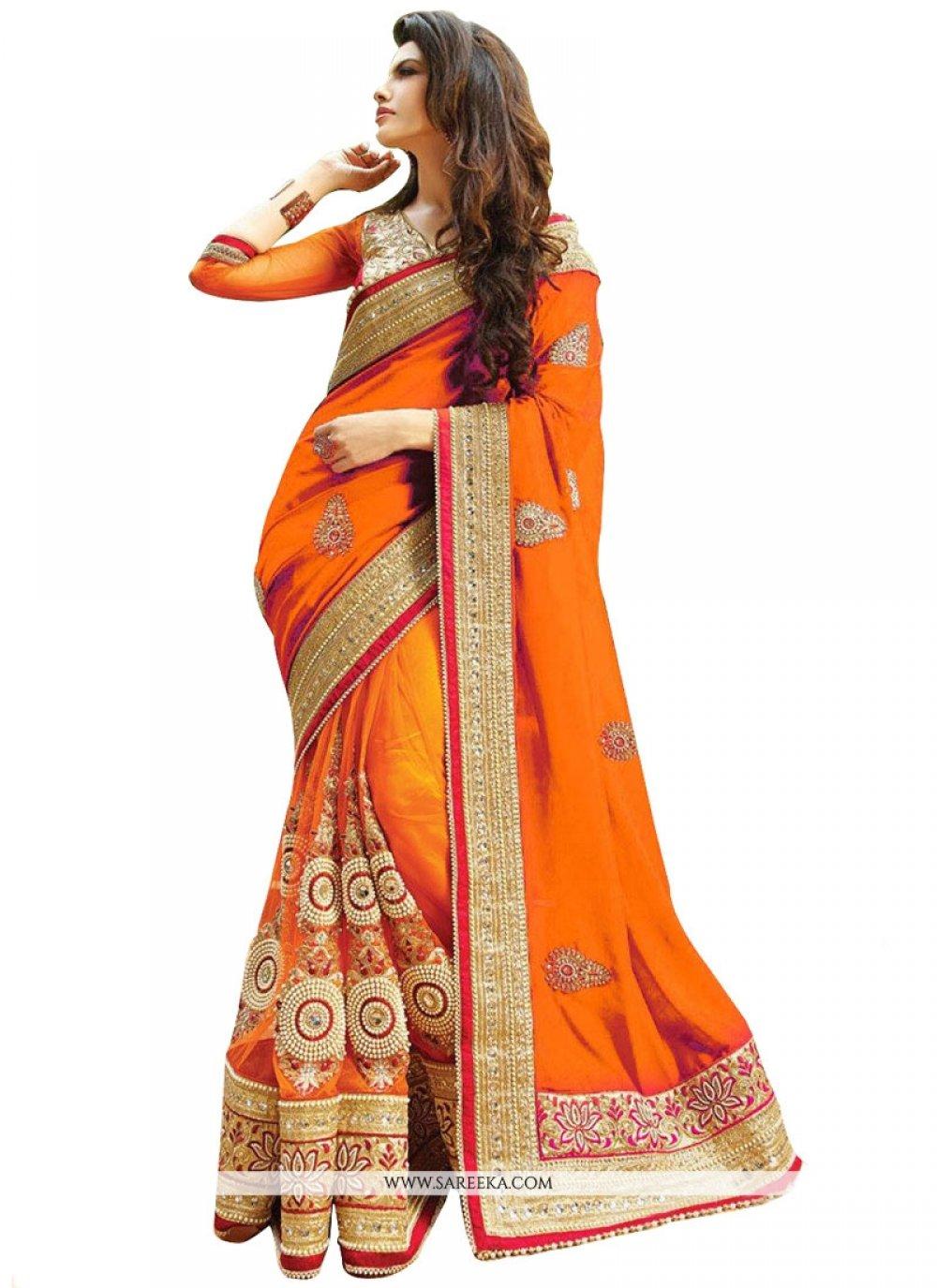 Georgette Zari Work Designer Half N Half saree