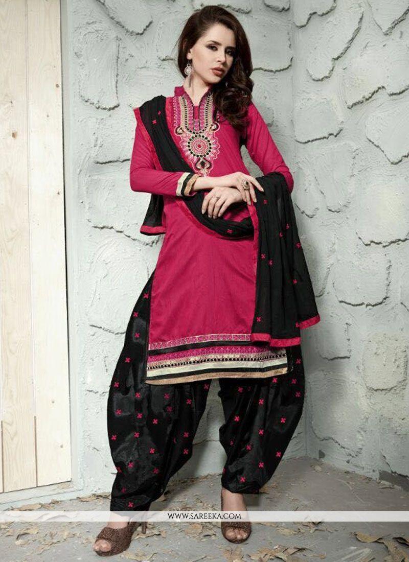 Magenta Trendy Punjabi Churidar Suit