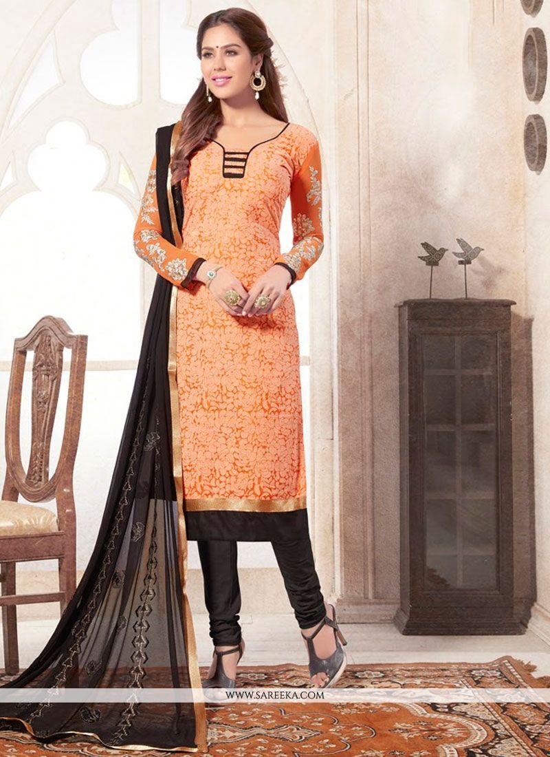 orange lace work jacquard churidar designer suit
