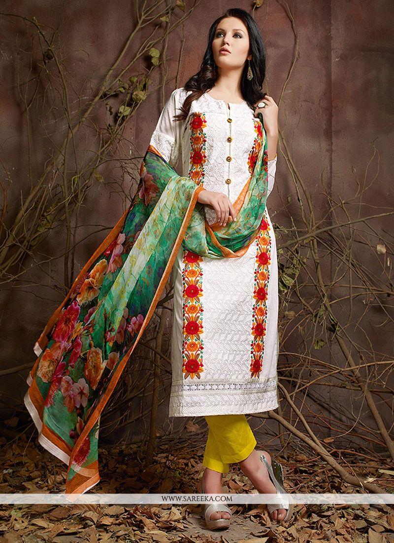 Cotton   Embroidered Work Designer Suit