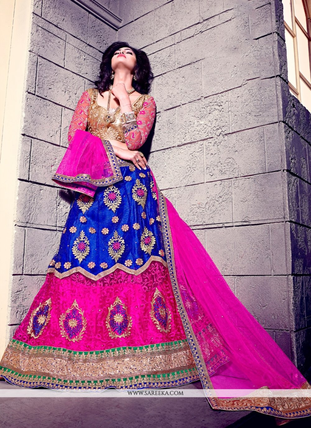 Patch Border Work Blue and Hot Pink A Line Lehenga Choli