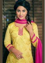 Resham Work Yellow Churidar Designer Suit