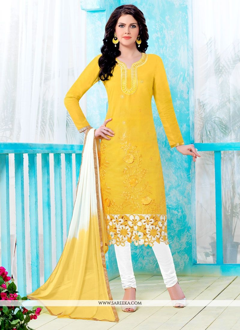 Cotton   Embroidered Work Churidar Designer Suit