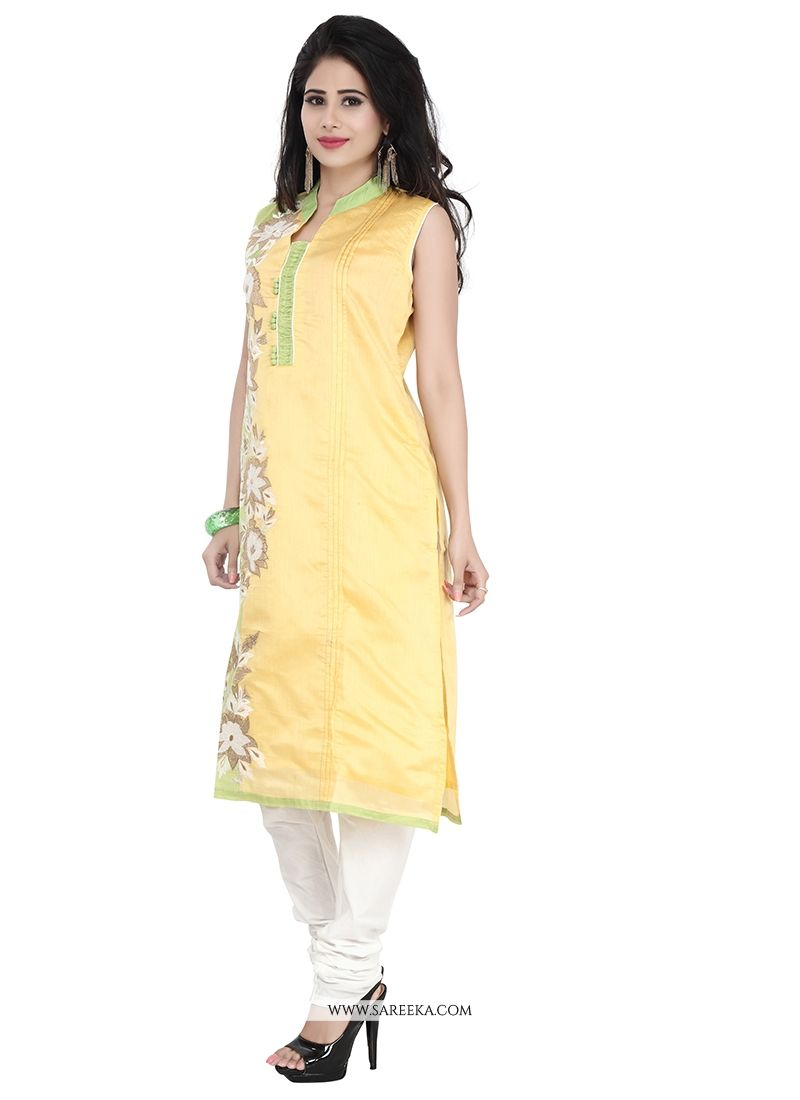 Embroidered Work Chanderi Yellow Designer Suit
