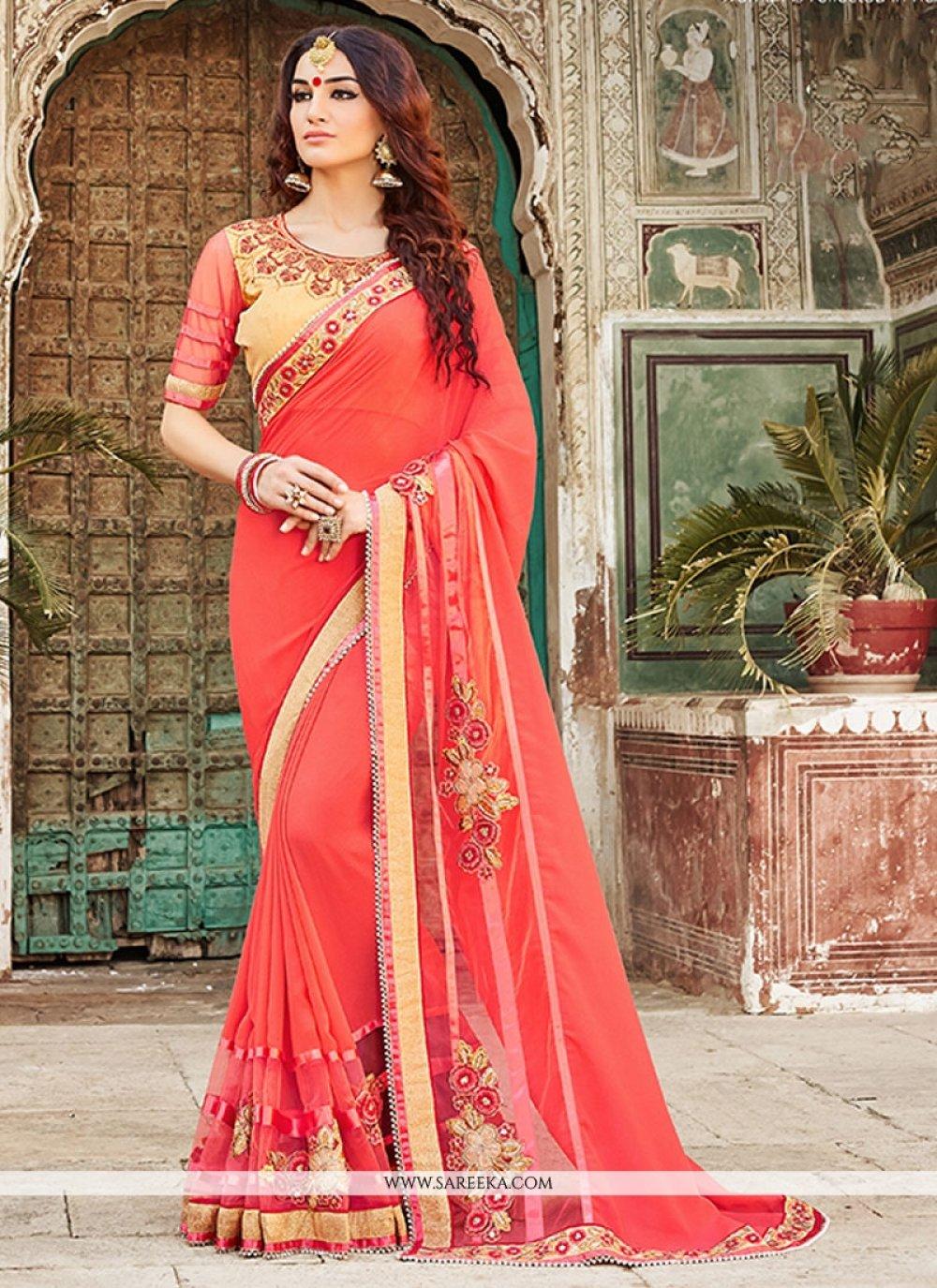 Embroidered Work Pink Designer Saree